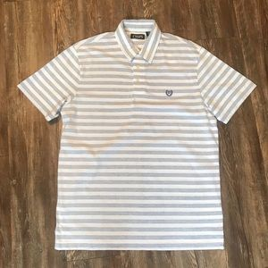 Chaps Blue and White Striped Polo